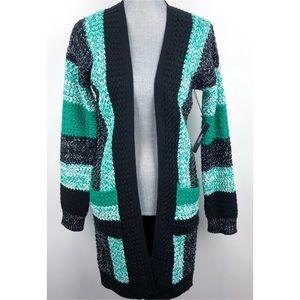 Vertigo | Long Open Cardigan Green Black Striped